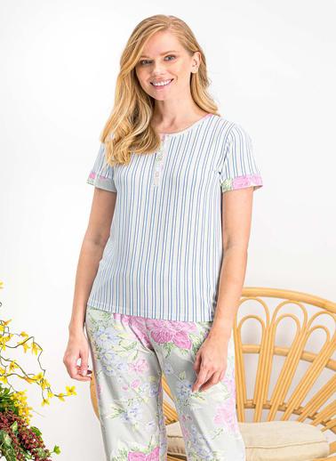 Arnetta  Violet Açık Gri Kadın Büyük Beden Pijama Takımı Gri